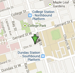 Click for map of 14 Elm Street and local Toronto area